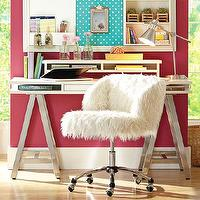 Storage Furniture - Customize-It Storage A-Frame Desk | PBteen - metal a-frame desk, white topped metal based desk, a-frame desk with storage drawer,