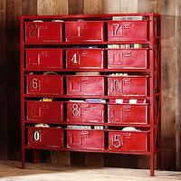 Storage Furniture - Rockwell 15-Drawer Bookcase | PBteen - red metal bookcase, red metal storage shelves, vintage red metal storage shelf with bins,
