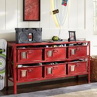Storage Furniture - Rockwell 6-Drawer Bookcase | PBteen - red metal bookcase with binds, vintage red metal bookcase, vintage red metal 6-drawer bookcase,