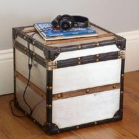 Storage Furniture - Collector's Metal Trunk | PBteen - metal trunk, metal storage trunk, retro trunk,