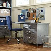 Storage Furniture - Locker Desk | PBteen - galvanized iron desk, metal locker desk, locker desk, galvanized metal desk,