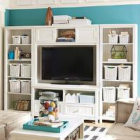 Storage Furniture - Beadboard Media Set | PBteen - white media stand, white beadboard media stand, white beadboard media console,