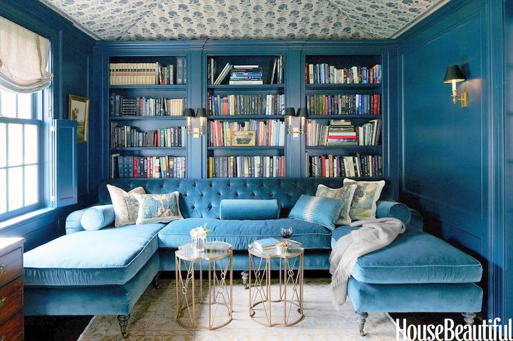 Turquoise Sectional - Contemporary - living room - Farrow u0026 Ball Hague Blue - House Beautiful