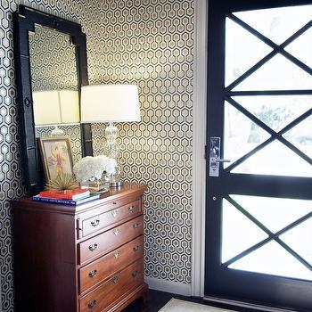 Hicks Hexagon Wallpaper, Contemporary, entrance/foyer, Sally Wheat Interiors