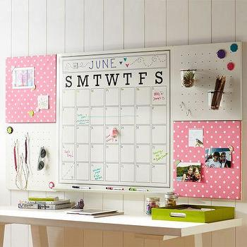 Art/Wall Decor - 2X4 Pink Dottie Style Tile 2.0 Frameless Set | PBteen - message station, message board, display board, message wall system,