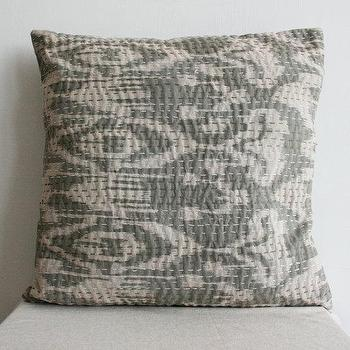 Pillows - Large Ikat Pillow in Gray size 20x20 by gypsya I Etsy - gray ikat pillow, gray and ivory ikat pillow, ikat pillow,
