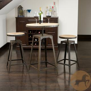 Tables - Rutherford Weathered Wood 3-piece Bar Set | Overstock.com - industrial bar height table set, bar height table set, industrial style bar height table and stools,