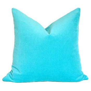 Pillows - Turquoise Velvet Pillow I Ariannabelle.com - turquoise velvet pillow, turquoise blue pillow, turquoise blue velvet pillow,