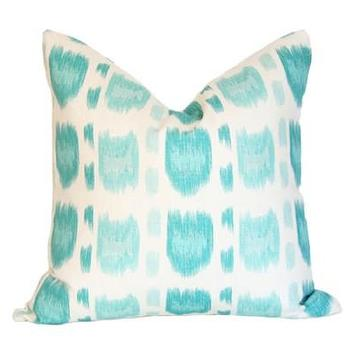 Pillows - Cintra Turquoise Pillow I Ariannabelle.com - turquoise and white pillow, turquoise blue patterned pillow, turquoise patterned pillow,