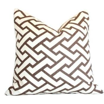Pillows - Aga Brown Pillow I Ariannabelle.com - brown and white geometric pillow, brown and white modern pillow, brown and ivory geometric pillow,