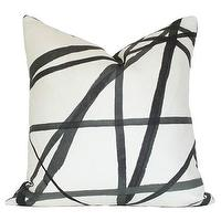Pillows - Channels Ebony & Ivory Pillow I Ariannabelle.com - black and white pillow, black and white abstract pillow, black and white brushstroke pillow,