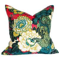 Pillows - Shanghai Peacock Cerise Pillow I Ariannabelle.com - peacock pillow, teal red and green peacock pillow, peacock print pillow,