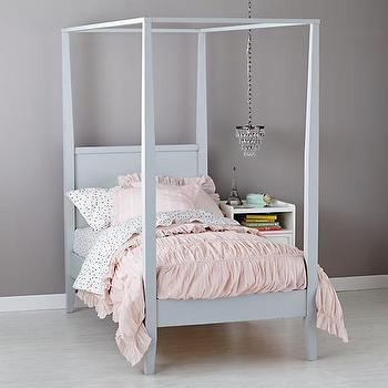 Beds/Headboards - Girls Royal Canopy Bed | The Land of Nod - kids canopy bed, distressed gray kids canopy bed, kids four poster canopy bed,