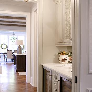L. Kae Interiors - kitchens - bella luna chandelier, butlers pantry lighting, butlers pantry chandeliers, butlers pantry pendants, butlers pantry cabinets, light gray cabinets, marble countertop, glass front fridges, butler pantry, butlers pantry, butlers pantry design,