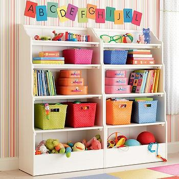 Kids White Wood Storage Open Top Bookcase, The Land of Nod