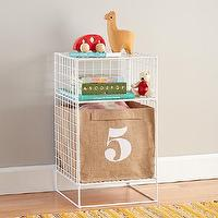 Storage Furniture - White Steel Wire Nightstand | The Land of Nod - white steel wire nightstand, white wire nightstand,