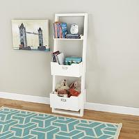 Storage Furniture - Kids White Leaning Wall Bookcase | The Land of Nod - white leaning bookcase, kids leaning bookcase, white kids leaning wall bookcase,