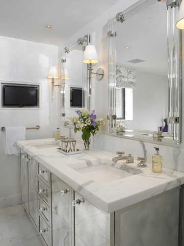 Mirrored Double Vanity Contemporary Bathroom