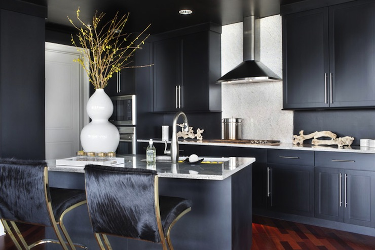 Navy blue cabinets contemporary kitchen lonny magazine for Navy blue granite countertops