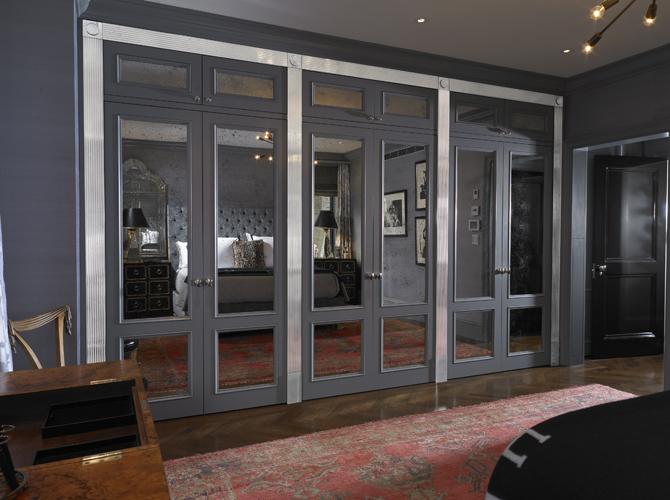 Mirrored Closet Doors Eclectic Bedroom Elizabeth Bauer Design