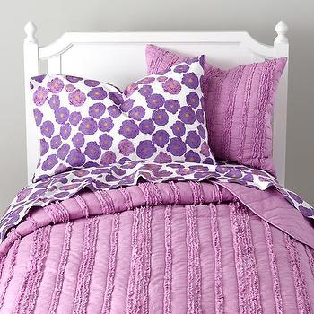 Bedding - Girls Bedding: Delicate Purple Bedding Set in Girl Bedding | The Land of Nod - purple kids bedding, purple girls bedding, purple and white floral kids bedding,