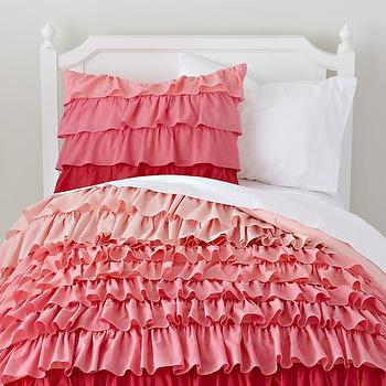Bedding - Pink Ombre Ruffled Bedding Set | The Land of Nod - girls ombre pink bedding, kids pink ombre ruffled bedding, pink ombre ruffled duvet,