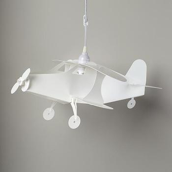 Lighting - Airplane Ceiling Lamp | The Land of Nod - white airplane lamp, hanging airplane lamp, airplane hanging lamp,