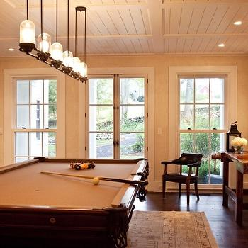 Marcia Tucker Interiors - media rooms - family game room, pool room, beadboard ceiling, pot lighting, linear chandelier, iron linear chandelier, pool table, persian rug, hardwood floors,
