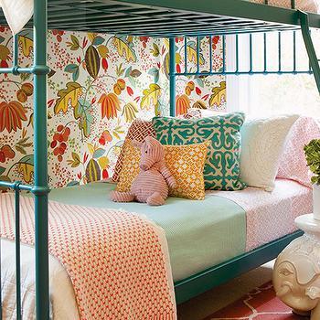 Taylor Borsari - girl's rooms: teal bunk beds, teal ladder, bunk bed ladder, teal bunk bed ladder, leaf wallpaper, pink sheet set, teal pillow, moroccan tile pillow, teal moroccan tile pillow, mint green blanket, elephant table, white elephant table, ellie side table, pink trellis rug, trellis rug,