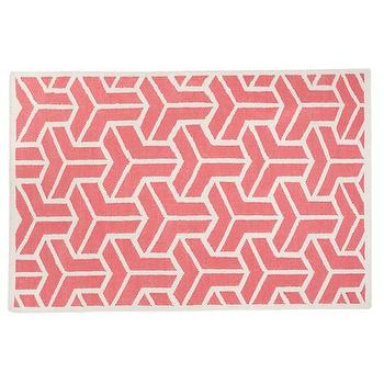 Rugs - Kids Pink Crows Feet Wool Rug | The Land of Nod - pink and white modern rug, pink and white geometric rug, pink and white rug,