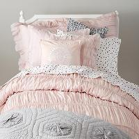 Bedding - Antique Chic Bedding Set | The Land of Nod - pink and gray girls bedding, pink rouched kids bedding, gray coverlet, pink and gray kids bedding,