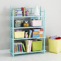 Storage Furniture - Kids Light Blue Spindle Bookcase | The Land of Nod - turquoise spool bookcase, turquoise jenny lind bookcase, aqua blue spool bookcase,