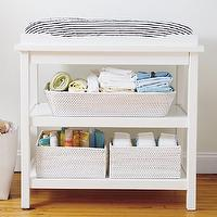 Storage Furniture - Baby White Durable Changing Table I The Land of Nod - white changing table, white two shelved changing table, changing table,