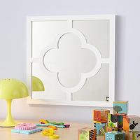Mirrors - Kids' Hanging White Clover Mirror | The Land of Nod - white clover shaped mirror, white quatrefoil mirror, white clover patterned mirror,