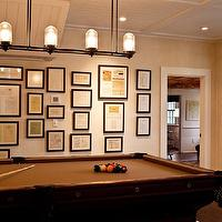 Marcia Tucker Interiors - media rooms - family game room, pool room, beadboard ceiling, pot lighting, linear chandelier, iron linear chandelier, pool table, art wall,