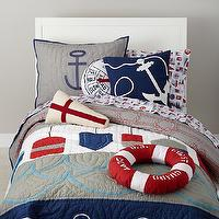 Bedding - Nautical Buoy Bedding Set | The Land of Nod - nautical bedding, kids nautical bedding, anchor pillows, buoy shaped pillow, life buoy shaped pillow,