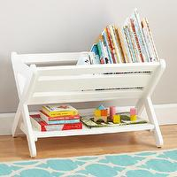 Storage Furniture - White Book Caddy Bin | The Land of Nod - white book caddy bin, book caddy, white storage caddy,