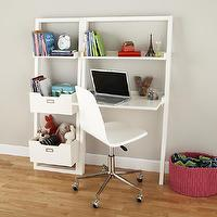 Storage Furniture - Kids White Leaning Wall Desk | The Land of Nod - white leaning wall desk, white kids leaning wall desk, kids white desk with leaning bookshelves,