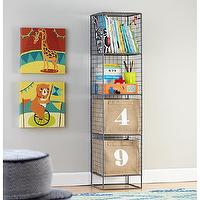 Storage Furniture - Grey Steel Wire Bookcase | The Land of Nod - gray steel wire bookcase, steel wire bookcase, steel wire industrial style bookcase,