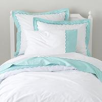 Bedding - Teal Scalloped Bedding Set | The Land of Nod - aqua and white scalloped bedding, aqua and white kids bedding, white kids bedding with aqua border,
