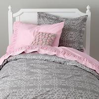 Bedding - Grey Looped Bedding Set | The Land of Nod - gray and white loop print bedding, pink and gray kids bedding, gray and white bedding,
