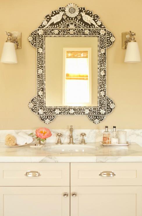 bone inlay mirror  transitional  bathroom  taylor borsari