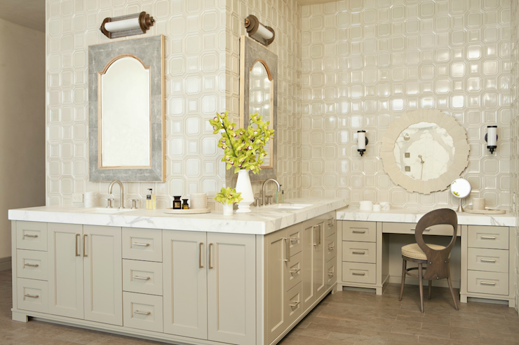 Light Taupe Vanity Eclectic Bathroom Taylor Borsari