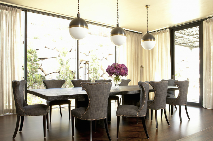 gray linen dining chairs contemporary dining room