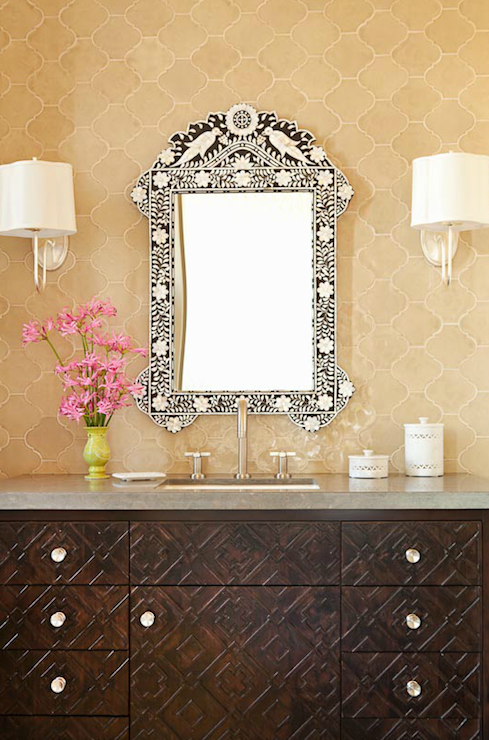Moroccan Tile Backsplash Mediterranean Bathroom Taylor Borsari