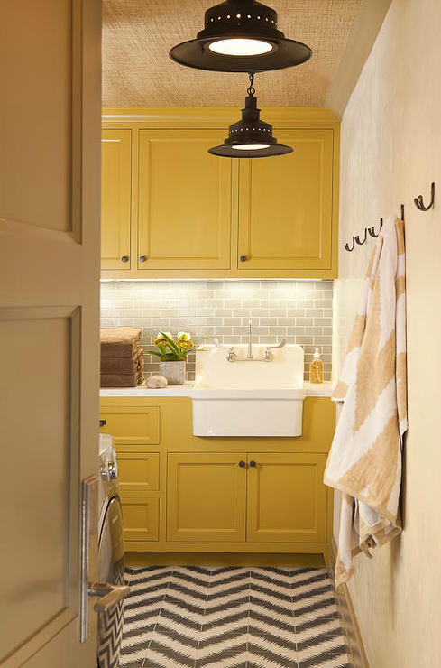 Yellow And Gray Laundry Room Contemporary Laundry Room