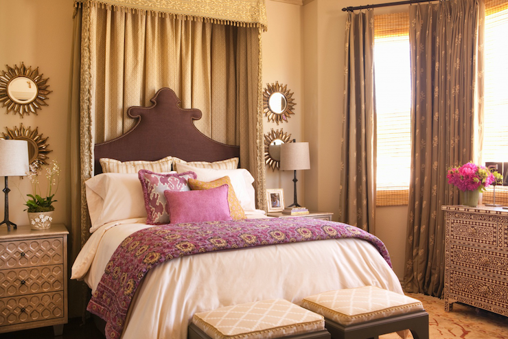 Purple And Brown Bedroom Mediterranean Bedroom