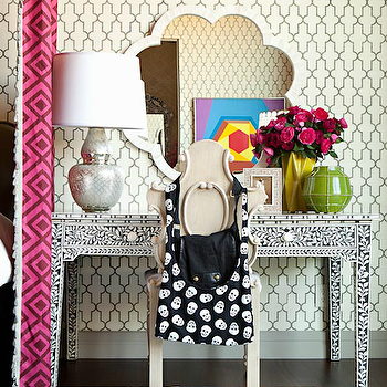 Taylor Borsari - bedrooms - phillip jeffries wallpaper, moroccan wallpaper, moorish tile wallpaper, gourd lamp, gourd table lamp, mercury glass lamp, mercury glass gourd lamp, blue medallion rug, blue mandela rug, blue medallions rug, bone inlay table, bone inlay console table, made goods mirror, scalloped mirror, bone inlay mirror, scalloped pearl mirror, pearl mirror, carved wood chair, Phillip Jeffries Moroccan Wallpaper, Made Goods Fiona Mirror, Madeline Weinrib Blue Mandala Rug, David Hicks La Fiorentina Wine / Magenta,