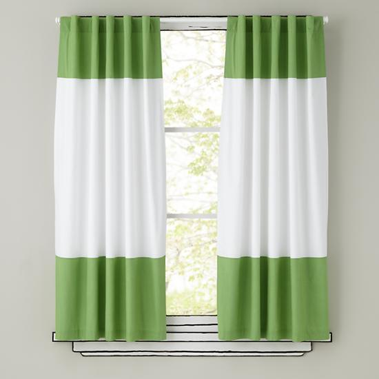 Green And White Curtain Panels The Land Of Nod