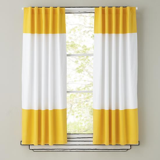 Yellow And White Curtain Panels The Land Of Nod